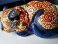 Antique Japanese Imari Kutani Signed Enamel Porcelain Sleeping Cat Gilded