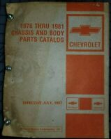 1976 thru 1981 Chevrolet Parts Catalog Manual Chassis Body
