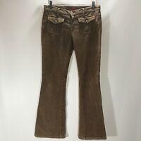 Blue Cult Pants Brown Cotton Stretch Corduroy Flap Pockets Size 29 Bootcut