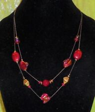 NECKLACE WITH PURPLE BEADS & GOLD BEADS MARKED RUBY RD