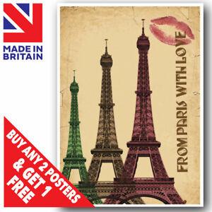 Vintage Eiffel Tower Paris Love Wall Art Poster Print A3 A4 A5 Size Laminated