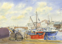 W.B. - Monogrammed 1986 Watercolour, Weymouth Harbour
