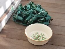Christmas Combo String Of Green Lights And Lenox Special Holly Bowl 5.25 Inches