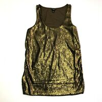 ann taylor loft scoop neck sleeveless tank top bronze sequin size xsp petite