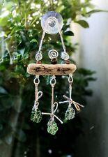 Driftwood Sea Glass window suncatcher,  hanging beach driftwood decor