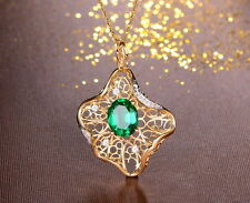 SOLID 18K YELLOW GOLD NATURAL GORGEOUS GREEN EMERALD DIAMOND WEDDING PENDANT
