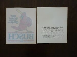 Vintage 1987 National League Champs St Louis Cardinals Busch Beer Window Sticker