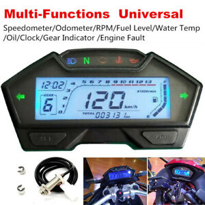 1xMotorcycle Speedometer Odometer RPM Speed Fuel Gauge Kph Mph Water Temp+Sensor