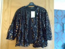 NEW next size M black sequin hook & eye fasten cropped evening jacket...rp £30