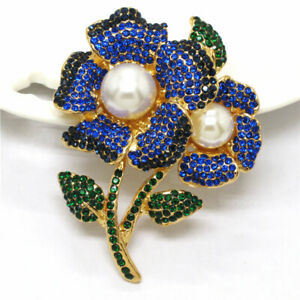 Blue Rhinestone Two Flower Pearl Crystal Betsey Johnson Charm Brooch Pin