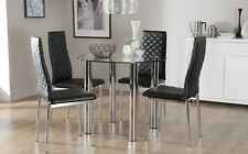 Solar & Renzo Glass & Chrome Dining Table And 4 Chairs Set (Black)