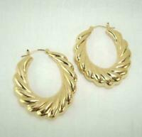 18K Gold Plated Oval Hoop Earrings - LIFETIME WARRANTY