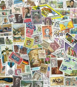 100 Multi-color Real Worldwide Postage Stamps Arts & Crafts Scrapbook Decoupage