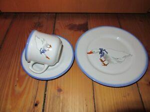 Kinder Geschirr 1 Gedeck Enten - Motiv von Genuine Porcelite  Tulowice