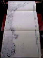 """1963 SPAGNA E FRANCIA costa meridionale NAUTICO MARE Mappa con grafici di navigazione 28"""" x 52"""" B72"""