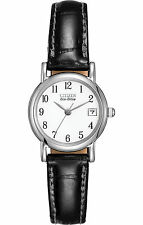 New Citizen Ladies Eco Drive Silhouette Stainless Steel Leather Watch EW1270-06A
