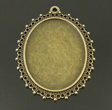 10PCS Vintage Bronze Oval Cameo Setting Cabochon Tray Inner Size 40*30mm 34237