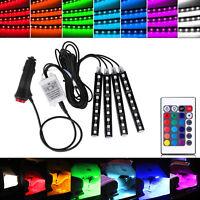 9 Color Cambio Coche interior RGB Tira LED Luz Inalámbrico IR Remote Control