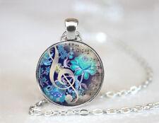 Vintage Music Dome Tibetan silver Glass Chain Pendant Necklace