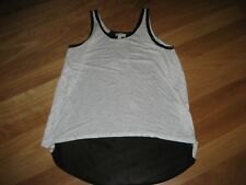 LADIES CUTE BLACK & GREY POLYCOTTON SLEEVELESS TOP BY WITCHERY SIZE S - 12.14