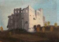Vintage impressionist oil painting landscape castle