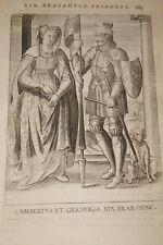 GRAVURE BELGIQUE LAMBERTUS ET GERBERGA BRABANT VEEN COLLAERT 1623 OLD PRINT R984