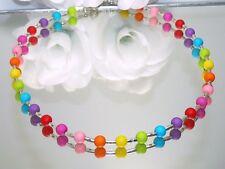 Halskette kette Collier Perle rund  bunt multicolor mehrfarbig   48 cm  453b