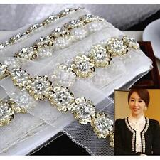 1yd Fake Pearls Sequins Crystal Beads Lace Ribbon Crochet Trim Sewing Craft