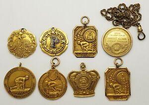 Lot Of 8 Antique 1913 Gold Filled Track Medals