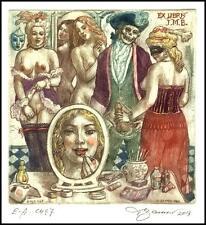 David Bekker 2013 Exlibris C4 Erotic Erotik Nude Woman Sex Mirror Skull Mask 987