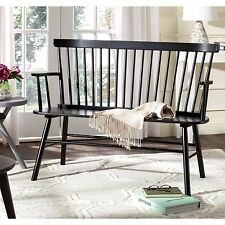 Dining Bench Seat Farmhouse Black Wood Kitchen Furniture Spindle Back 2 Person