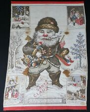 """Antique Patriotic Santa Textile 18"""" x 24"""" 1868"""