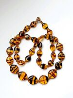 Vintage Czech Amber Tone Beaded Necklace