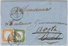 ANTICHI STATI - SARDEGNA : annullo PONT S. MARTIN mese in FRANCESE su BUSTA 1863