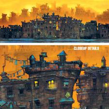 """30W""""x12H"""" THE BLOCK by JUSTIN BUA - CITYSCAPE GHETTO STREET SCENE CANVAS"""