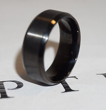 New 8mm Stainless Steel Ring Man Women Band Black Size 7