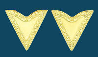 New! Western Collar Tips - Gold - Screw On 1-1/4 along edge