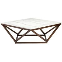 """36"""" Wide Coffee Table Solid Smooth Polished Marble Solid Ash Geometric Base"""