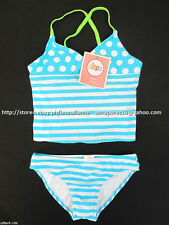 35% OFF!  AUTH CIRCO GIRLS 2pc POLKA STRIPES TANKINI SWIMSUIT SET XL 12/14 BNWT