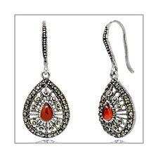 Thai Sterling Silver Pear Drop Dangle Earrings with CZ Orange #53122