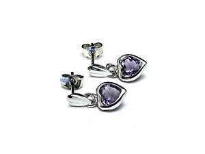 N Ladies 9ct 9Carat White Gold Amethyst Heart Drop Studs Earrings 12mm Hallmark