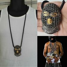 """MENS HIP HOP ICED OUT BLACK GOON SKI MASK PENDANT W/ 36"""" FRANCO CHAIN NECKLACE"""
