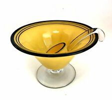 Antique Mayonnaise Bowl with Spoon Ladle Yellow Painted Glass Footed 4 in Tall