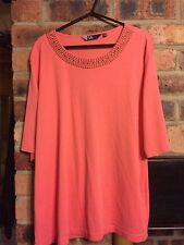 ISLE SIZE 22-24 TOP IN PEACH WITH SMALL STUD NECKLINE