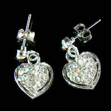 Clear AB Love HEART made with Swarovski Crystal Bride Wedding Earrings Sparkling