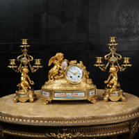 JAPY FRERES ~ EARLY FRENCH ORMOLU AND SEVRES PORCELAIN CLOCK SET C1850 ~ CHERUBS