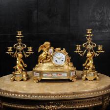 JAPY FRERES ~ presto francese in bronzo dorato e Sevres porcelain Clock Set C1850 ~ Cherubini