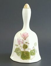 Vintage Otagiri Japan Ceramic Bell Cyclamen Pink Flowers Green Leaves Gold Trim
