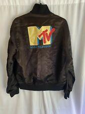 Vintage MTV Satin Bomber Jacket Medium Made in USA Distressed