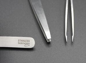 Pinzette gerade 10 cm Solingen Germany Rostfrei Edelstahl Zupfpinzette Stainless